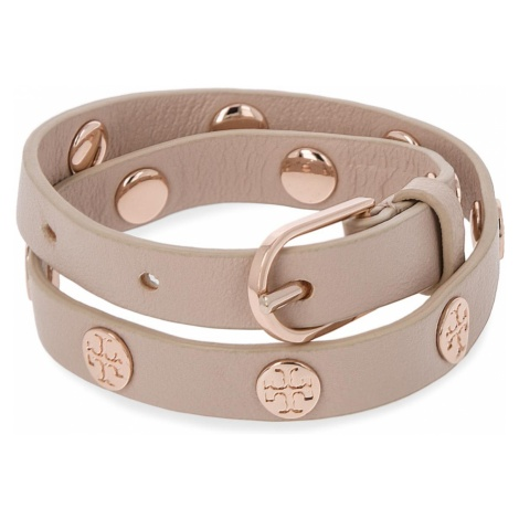 Bransoletka TORY BURCH - Double Wrap Logo Stud Bracelet 11165816 Light Oak/Rose Gold 252