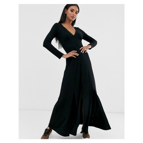 ASOS DESIGN long sleeve button through maxi tea dress with splits