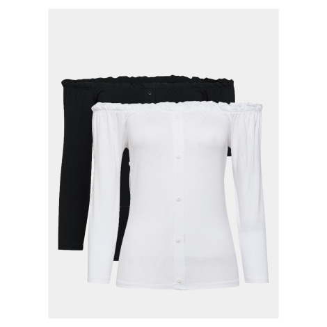 Zestaw dwóch koszulek z odkrytymi ramionami w kolorze białym i czarnym autorstwa Dorothy Perkins