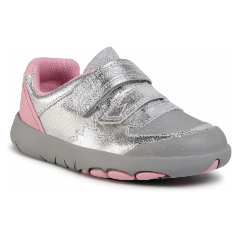 Sneakersy CLARKS - Rex Quest K 261541056 Silver Leather
