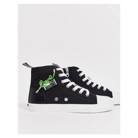 Love Moschino lace up hi top trainer black
