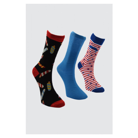 Trendyol MultiColor Men's Jacquard 3 Pack Socket Socks