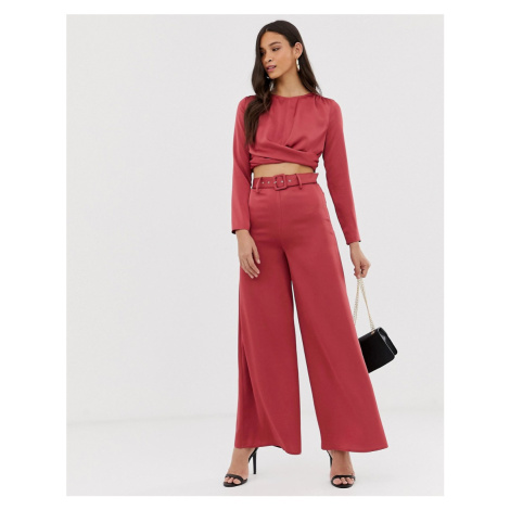 The Girlcode wide leg satin trouser with belt in cranberry