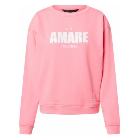 ARMANI EXCHANGE Bluzka sportowa biały / różowy pudrowy