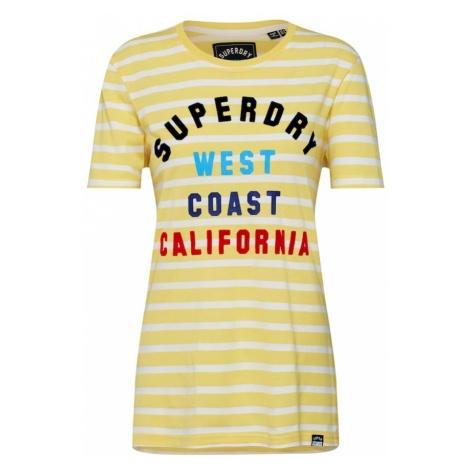 Superdry Koszulka 'West Coast Stripe Entry' limonkowy / mieszane kolory / biały