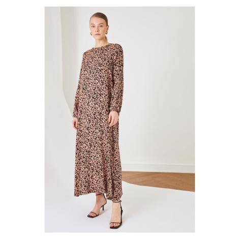 Trendyol Camel Leopard wzorzysta sukienka