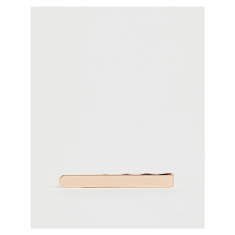 ASOS DESIGN slim tie bar in rose gold