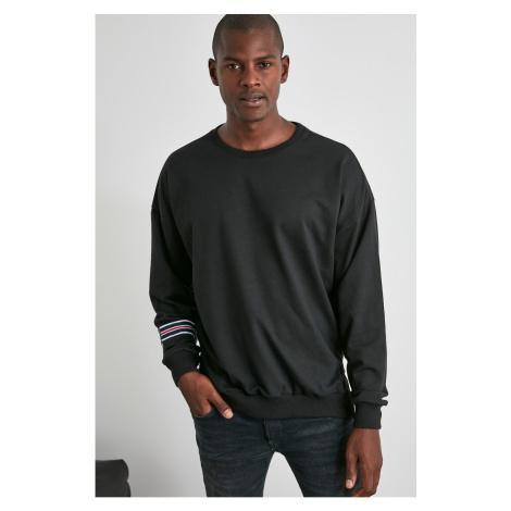 Trendyol Black Męski kołnierz na rower bluza na zamek błyskawiczny Szczegółowa bluza