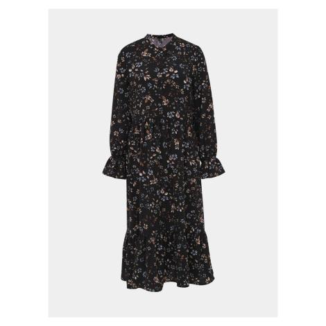 Czarna sukienka midi w kwiaty VERO MODA Myranda
