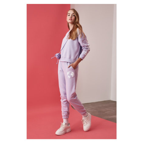 Trendyol Lila Printed Loose Jogger Knitted Tracksuit bottom