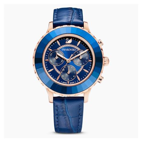 Zegarek Octea Lux Chrono, pasek ze skóry, niebieski, powłoka PVD w odcieniu różowego złota Swarovski