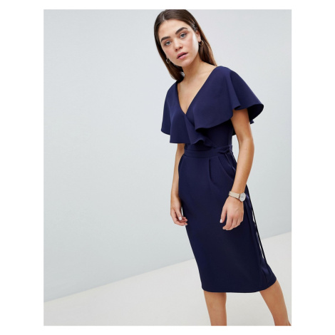 ASOS DESIGN Ruffle Wrap Midi Dress