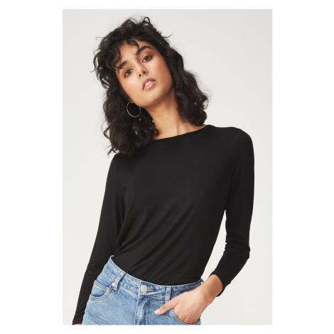 Damska bluzka basic z długim rękawem Kathleen czarna