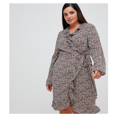 Unique 21 Hero leopared long sleeve wrap dress with frill