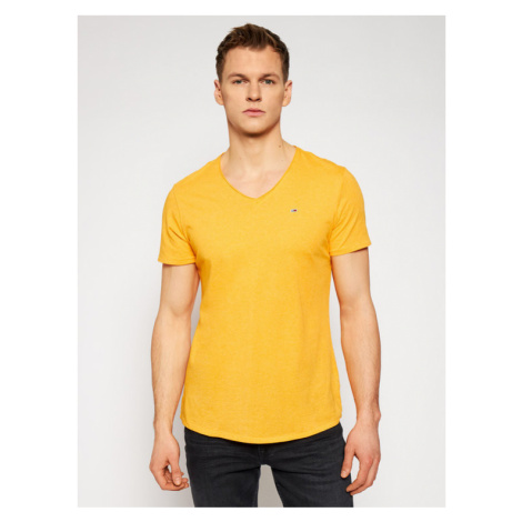 Tommy Jeans T-Shirt Jaspe DM0DM09587 Żółty Slim Fit Tommy Hilfiger
