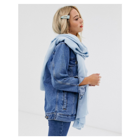 ASOS DESIGN plain lightweight winter pastel long scarf with raw edge in blue