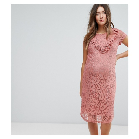 Mamalicious lace midi dress with frill sleeve in pink Mama Licious