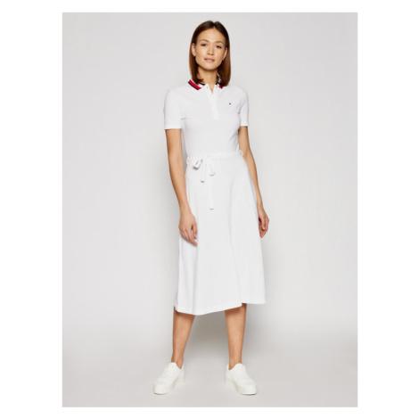 Tommy Hilfiger Sukienka codzienna Global WW0WW30368 Biały Regular Fit