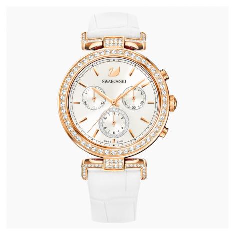 Zegarek Era Journey, pasek ze skóry, biały, powłoka PVD w odcieniu różowego złota Swarovski