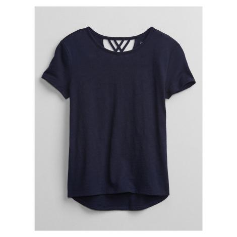 GAP niebieska koszulka dziewczęca v-crossback
