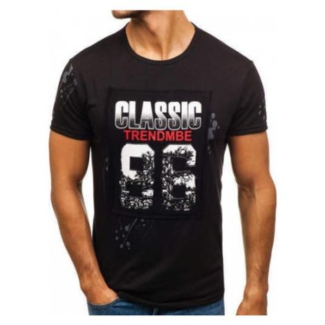 T-shirt męski z nadrukiem czarny Denley SS218 J.STYLE