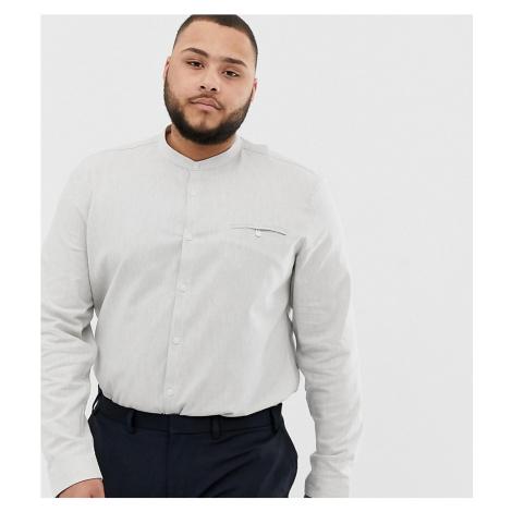 ASOS DESIGN Plus slim fit grandad collar shirt in grey marl