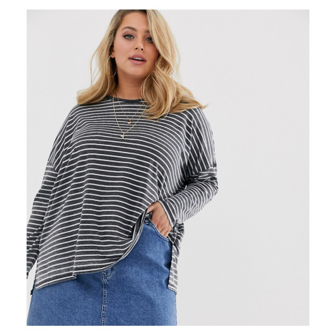 ASOS DESIGN Curve oversized t-shirt in burnout stripe with long sleeve