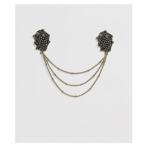 ASOS DESIGN molten metal collar tips burnished gold tone