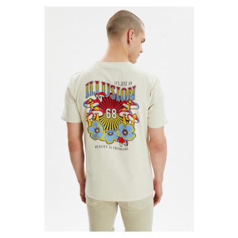 Modsyol Stone Męskie Paski Na szyję Krótki rękaw Z nadrukiem T-shirt Trendyol
