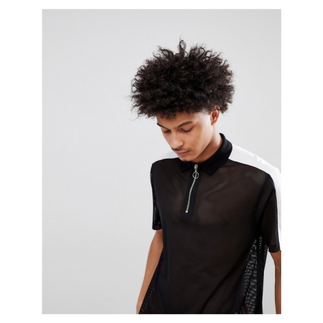ASOS DESIGN relaxed longline polo shirt in mesh in black