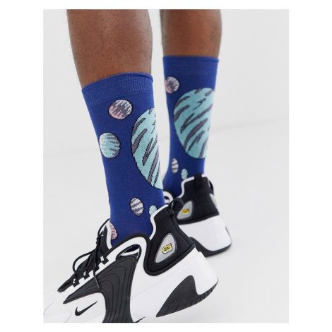 ASOS DESIGN all over print planet ankle sock