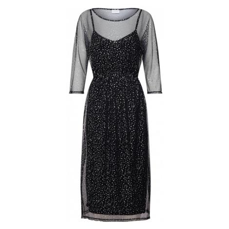 VILA Sukienka 'VISTORRY 3/4 SLEEVE MIDI DRESS' czarny / srebrny