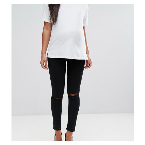 ASOS DESIGN Maternity Ridley high waisted skinny jeans in clean black with ripped knees with ove