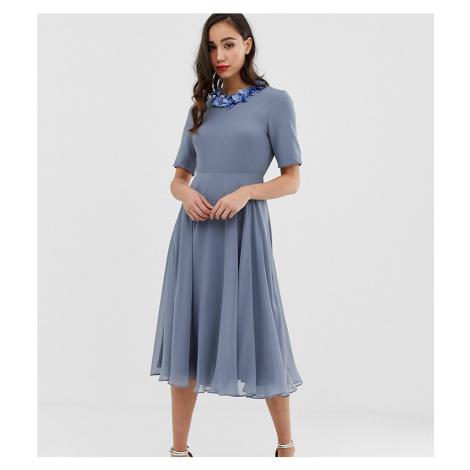 ASOS DESIGN Tall crop top embellished neckline midi dress