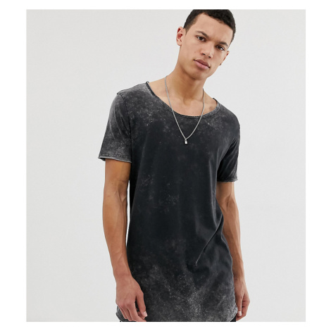 ASOS DESIGN Tall relaxed super longline t-shirt with scoop neck and curved hem in acid wash