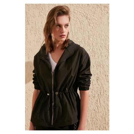 Trendyol Waist-Bending Coat With Black Hoodie Water Propulsion Featured