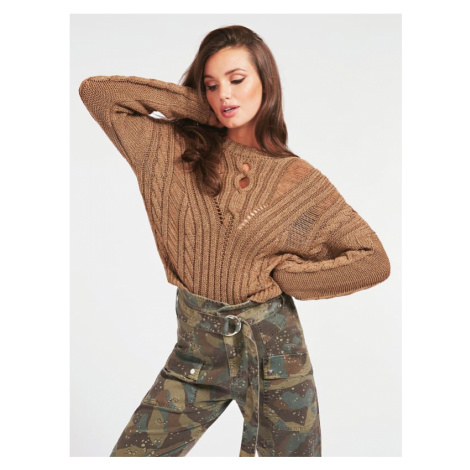 Sweter O Warkoczowym Splocie Guess