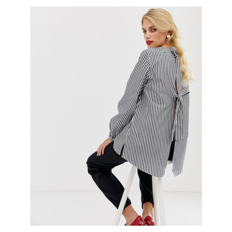 French Connection Sardinia stripe tie back blouse