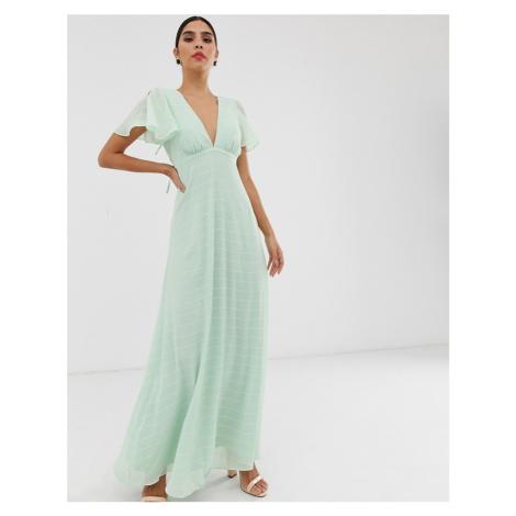 Y.A.S angel sleeve textured maxi dress
