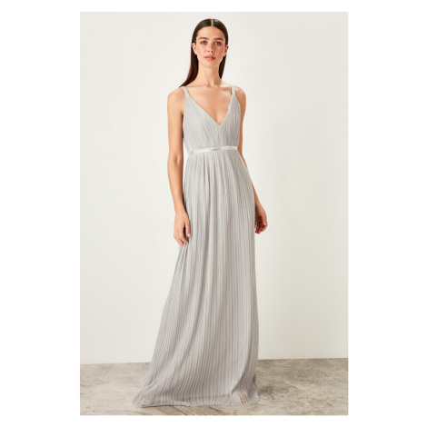 Trendyol Gray accessory Detailed Evening dress