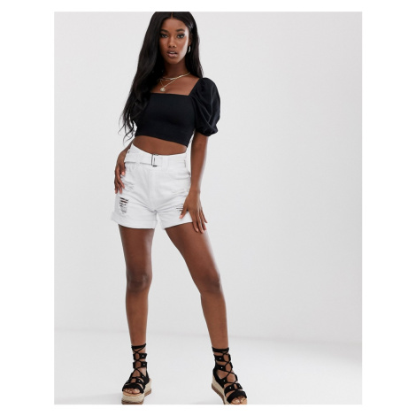 Boohoo denim mom shorts with distressing in white