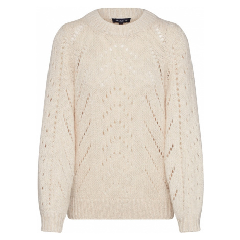 SELECTED FEMME Sweter 'SLFNEMA LS KNIT O-NECK' beżowy