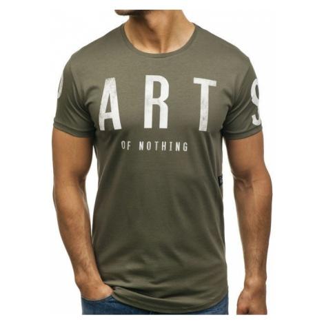 T-shirt męski z nadrukiem zielony Denley 181167 BREEZY