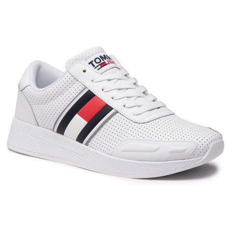 Sneakersy TOMMY JEANS - Flexi Perf Leather Runner EM0EM00580 White YBR Tommy Hilfiger