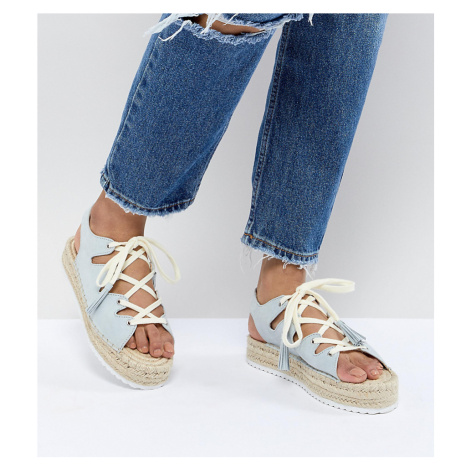 Pull&Bear lace up espadrille in blue Pull & Bear
