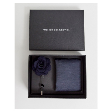 French Connection dotted pocket square & lapel pin set