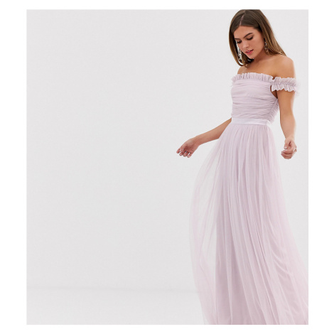 Anaya With Love tulle ruffle shoulder bardot maxi dress with satin trim in soft pink