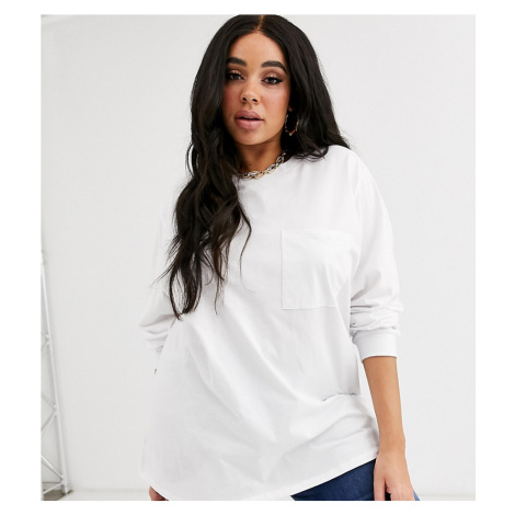 ASOS DESIGN Curve oversized t-shirt with pocket detail in white