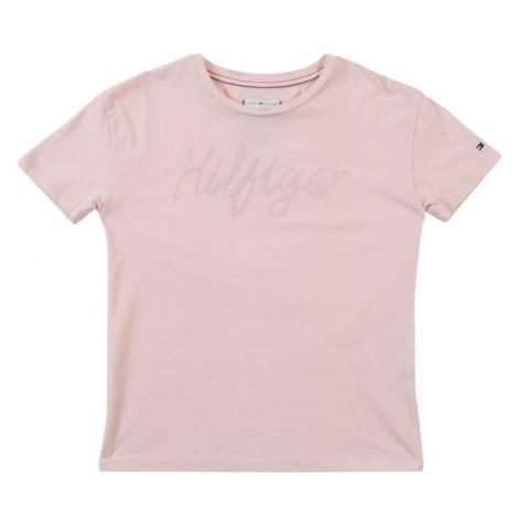 TOMMY HILFIGER Koszulka 'Sateen Logo Tee S/S' różowy pudrowy
