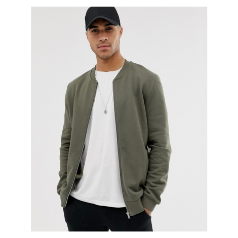 ASOS DESIGN jersey bomber jacket in green